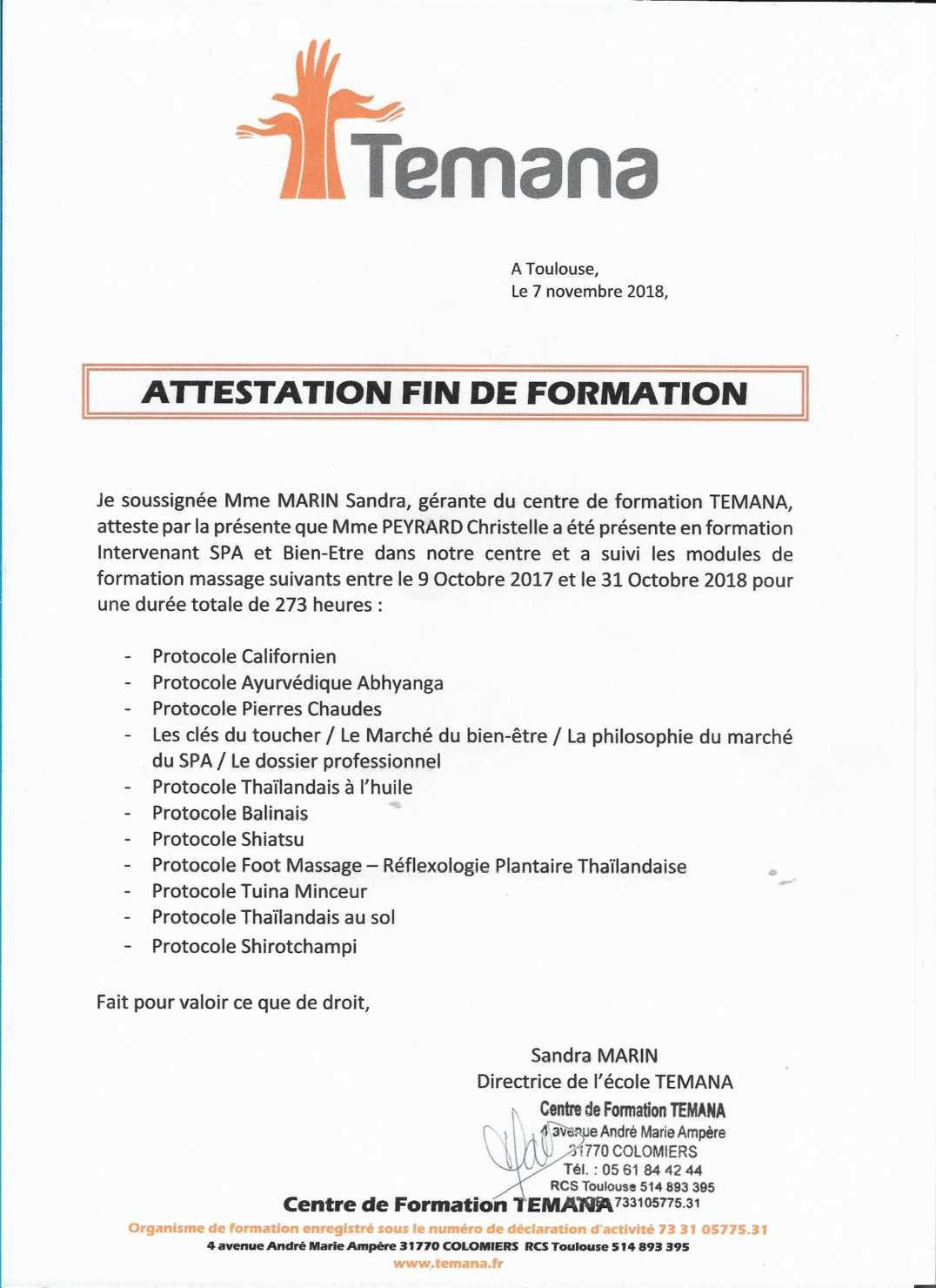 certificat massage